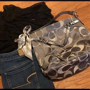 Gray/silver Coach Bag